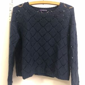 crop navy open-knit sweater - size small